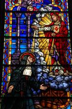 This is a picture of a stained glass window in our Chapel Hall depicting St. Margaret Mary Alacoque who was responsible for spreading devotion to the Sacred Heart of Jesus in the late 1600s.